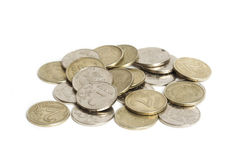 Big pile of coins isolated on white background. Russian rouble Royalty Free Stock Photography