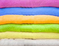 Big pile of colorful towels. Royalty Free Stock Photos