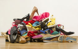 Big pile of colorful woman shoes. Stock Photos