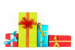 Big pile of colorful wrapped gift boxes isolated on white background. Mountain gifts. Beautiful present box with. Big pile of colorful wrapped gift boxes Stock Photos