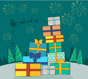 Big Pile of Colorful Wrapped Gift Boxes Web Banner. Fireworks and santa with reindeers in sky on snowy background. Christmas gift boxes with snow forest. Gift Royalty Free Stock Photos