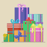 Big pile of colorful wrapped holiday gift boxes decorated with ribbon, bows and ornaments. Lots of presents. Flat style vector ill. Big pile of colorful wrapped Stock Photography