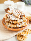 Big pile of of crispy wafers made at home Royalty Free Stock Photos