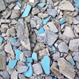 Big pile of destroyed cement concrete wall. With various shape Royalty Free Stock Images