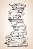 Big Pile of different books. On white background Royalty Free Stock Photos