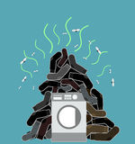 Big pile of dirty and smelly socks. Washing machine  illus Royalty Free Stock Images