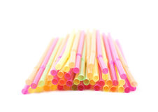 Big pile of drinking straws isolated Stock Photos