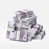 Big pile of euros. Isolated on a white background. 3d render vector illustration