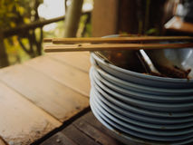 Big pile of finished Thai noodles left on the table. Concept of full stomache Stock Photography