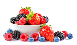 Big Pile of Fresh Berries in Bowl on the White Background Royalty Free Stock Image
