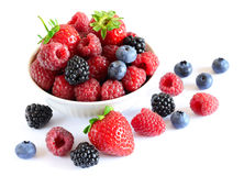 Big Pile of Fresh Berries on the White Stock Photography