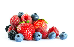 Big Pile of Fresh Berries on the White Royalty Free Stock Image