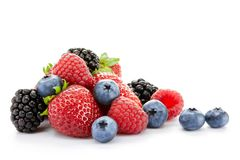 Big Pile of Fresh Berries on White Background Royalty Free Stock Photo