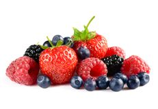 Big Pile of Fresh Berries on White Background Royalty Free Stock Photos