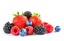 Big Pile of Fresh Berries on the White Background Stock Photography