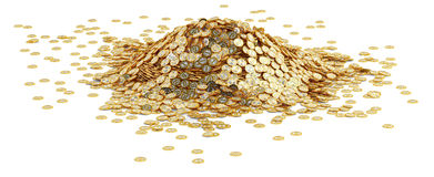 Big pile of golden Bitcoins - isolated on white Royalty Free Stock Images