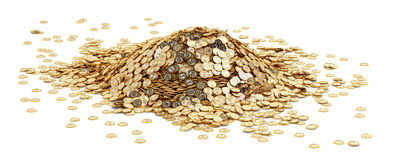 Big pile of golden Bitcoins Royalty Free Stock Images