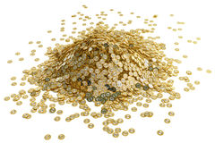 Big pile of golden Bitcoins Royalty Free Stock Image
