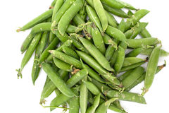 Big pile of green pea pods on a white background Stock Images