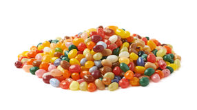 Big pile of jelly beans isolated Stock Images