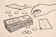 Big pile of money. Hand drawing cartoon Royalty Free Stock Photography