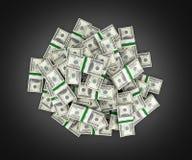 Big pile of money american dollar bills on black background 3d vector illustration