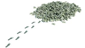 Big pile of money. dollars over white background.  Stock Photography