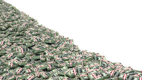 Big pile of money. dollars over white background Royalty Free Stock Photo