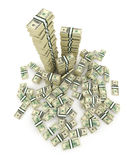 Big pile of the money. Green  dollars USA 3D Stock Image