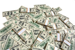 Big pile of money. Studio photography of American moneys of hundred dollar royalty free stock photos
