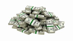 Free Big Pile Of Money American Dollar Bills Without Shadow 3d Royalty Free Stock Photo - 138819895