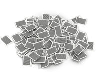 Big pile of pages paper  3d isometry. Big pile of paper pages  lay in white background Stock Photos