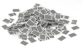 Big pile of pages paper 3d isometry. Big pile of paper pages lay in white background stock illustration