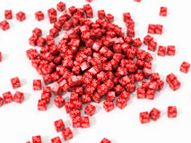 Big pile of red cubes. With percent in focus on white background. 3D illustration Royalty Free Stock Photography