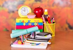 Big pile of school supplies Royalty Free Stock Photos