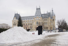 Big pile of snow at Culture Palace in Iasi city royalty free stock images