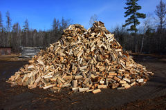Big pile of split firewood Stock Image