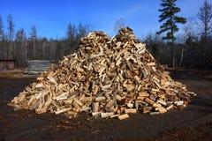Big pile of split firewood Stock Image