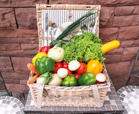 Big pile of vegetables in a basket. Stock Photos