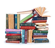 Big pile of vintage books with open top Royalty Free Stock Images