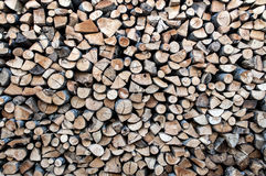 Big pile of wood. Wood for fireplaces, sliced logs Royalty Free Stock Photography