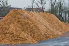 Big pile of wood shavings and wood mulch stock image