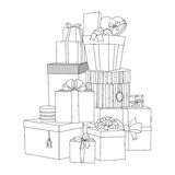 Big pile of wrapped gift boxes. Beautiful box. Gift box. Isolated vector present illustration. Coloring book Stock Photo