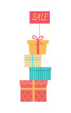 Big Pile of Wrapped Gift Boxes Vector Sale Concept Royalty Free Stock Photo