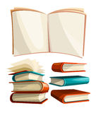 Big piles set of books with open pages spread Stock Photos