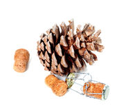 Big pine cone and champagne wine corks with muselet Royalty Free Stock Images