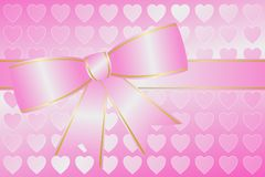Big Pink Bow With Hearts Royalty Free Stock Images