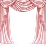 Big pink curtain draped with lambrequins Royalty Free Stock Photos
