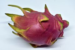 Big pink dragon fruit on white background stock photo