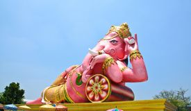 Big pink Ganesha in relax pose, Thailand Royalty Free Stock Photo